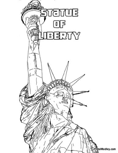 A coloring page of the iconic Statue of Liberty in New York Harbor.