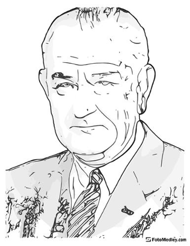 A cartoon style coloring sketch of Lyndon B. Johnson, 36th President of the United States.