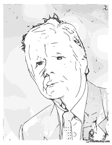 A cartoon style coloring sketch of James Carter, 39th President of the United States.