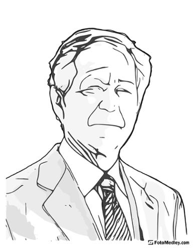 A cartoon style coloring sketch of George W. Bush, 43rd President of the United States.