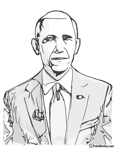 A cartoon style coloring sketch of Barack Obama, 44th President of the United States.