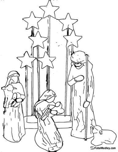 A simple coloring page depicting a Christmas nativity scene with stars, lambs, Mary holding Jesus, Joseph, and a shepherd.