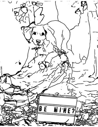 Cute dog valentines coloring page