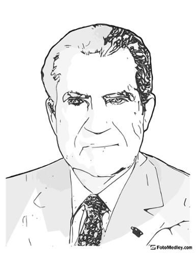 A cartoon style coloring sketch of Richard M. Nixon, 37th President of the United States.