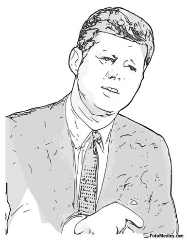 A cartoon style coloring sketch of John F. Kennedy, 35th President of the United States.