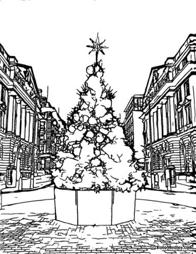 A coloring page of a Christmas tree at the center of a town square, with buildings in the background.