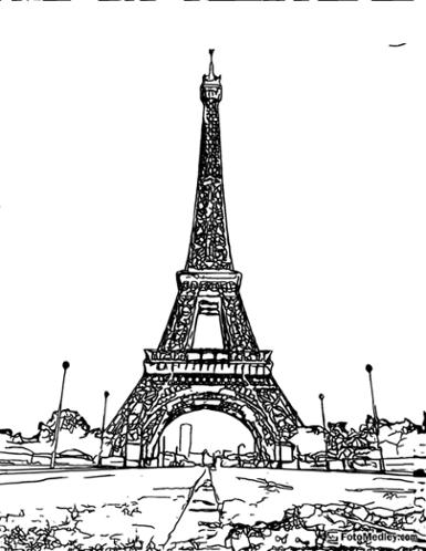 A coloring page of a view of the Eiffel Tower in Paris.