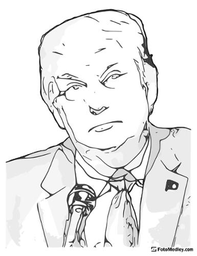 A cartoon style coloring sketch of Donald Trump, 45th President of the United States.