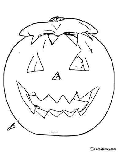 A coloring page of a traditional jack-o'-lantern carved pumpkin for Halloween.
