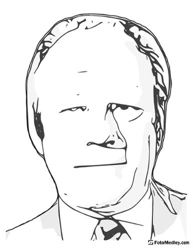 A cartoon style coloring sketch of Gerald R. Ford, 38th President of the United States.