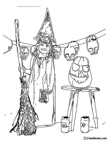 A coloring sheet of a girl dressed in a witch costume for Halloween, with broomstick and skulls around.