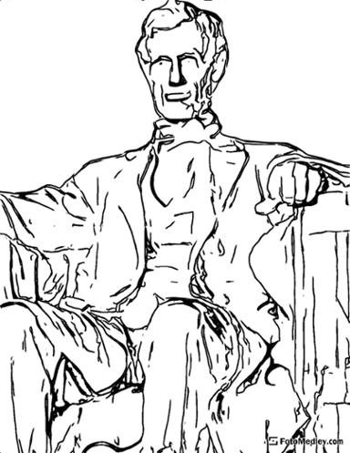 A coloring page of the Abraham Lincoln Memorial in Washington D.C.